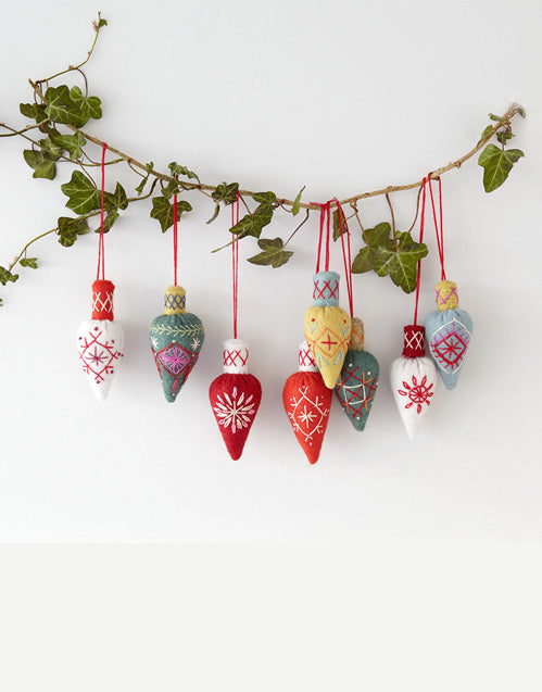 Three Cone Baubles, Christmas Embroidery Kit by Nancy Nicholson