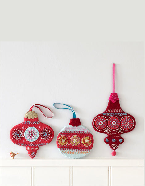 Three Flat Baubles, Christmas Embroidery Kit by Nancy Nicholson