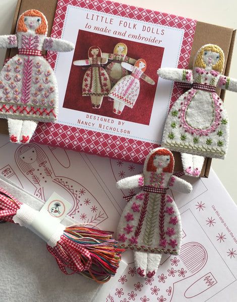 Three Little Folk Dolls Embroidery Kit, Nancy Nicholson