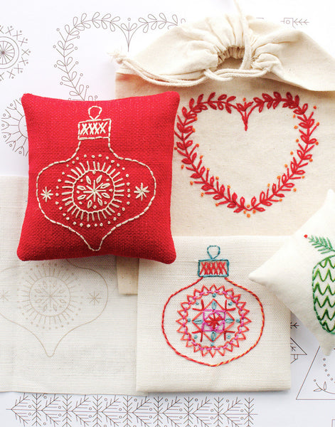 Christmas Motifs Iron-on Embroidery Transfers, Nancy Nicholson