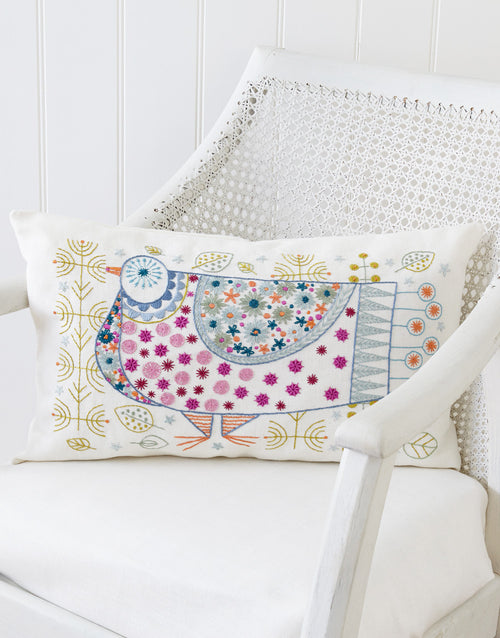 Nancy Nicholson Embroidery Stitch Kit, Pigeon Cushion Cover