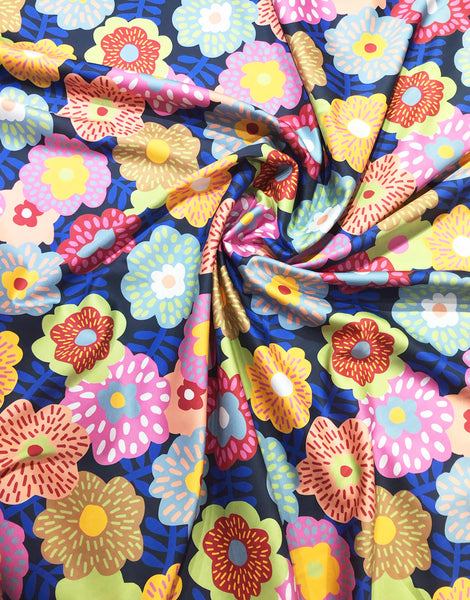 Cama Flowers Dark Blue Cotton Sateen Fabric, Anne Bomio for Nerida Hansen