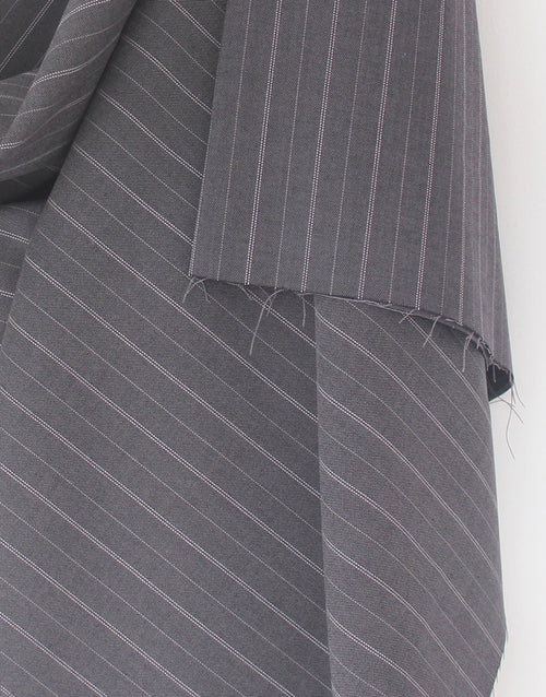 Grey Pinstriped Viscose Poly Blend Suiting Fabric