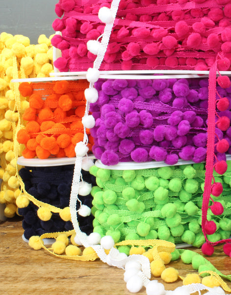 Pom Pom Bobble Trim Polyester, Various Colours, Medium