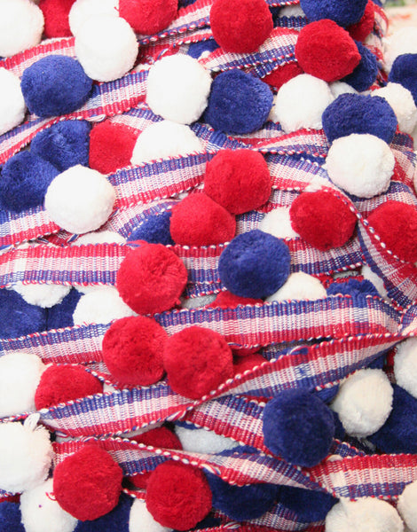 Pom Pom Bobble Trim Cotton, Red White and Blue, Large