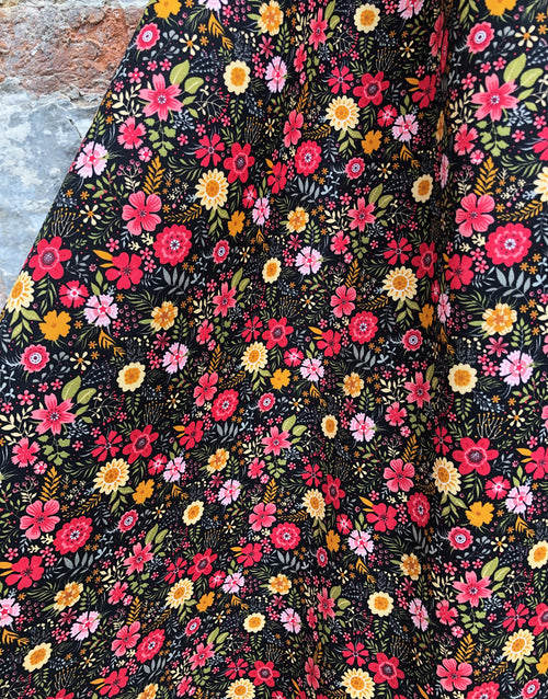 Bright Autumnal Floral Printed Cotton Fabric