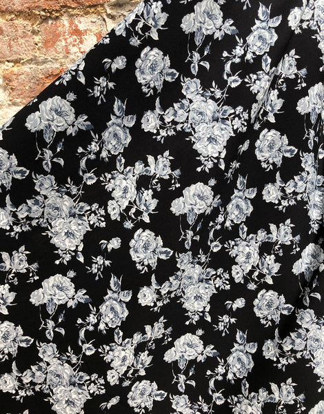 Monochrome Rose Printed Cotton Fabric