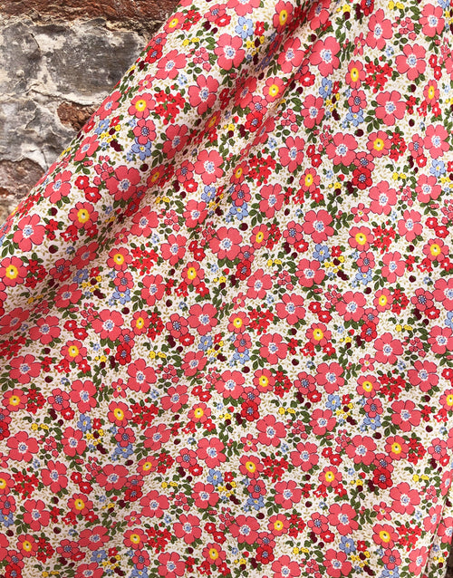 Pink Floral Printed Cotton Fabric