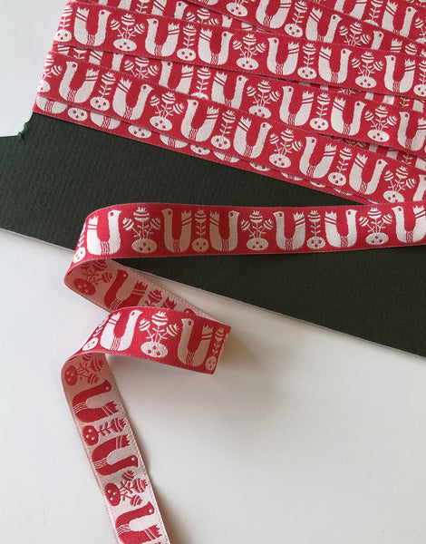 Red Birds and Flowers Double Sided Ribbon