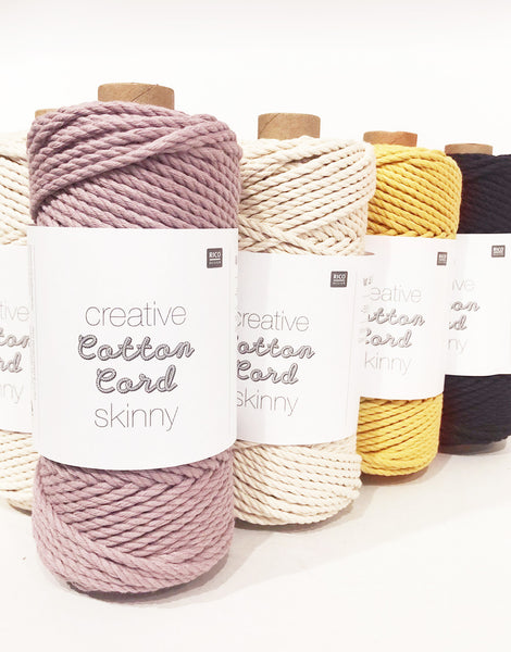 Rico Creative Cotton Macrame Cord Skinny, Various Colours
