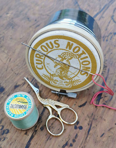 Mustard 'Curious Notions' Storage Tin, The Industrious Maker