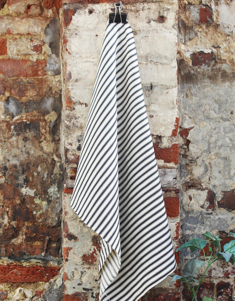 Cotton Ticking Stripe Fabric, Black