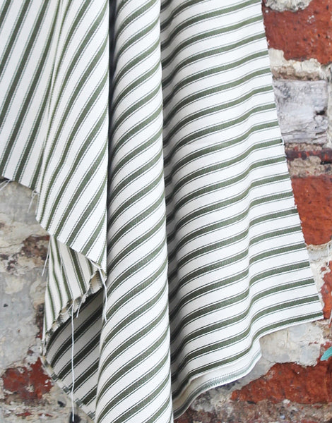 Cotton Ticking Stripe Fabric, Green