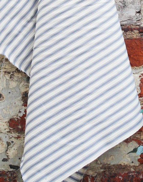 Cotton Ticking Stripe Fabric, Mid Grey