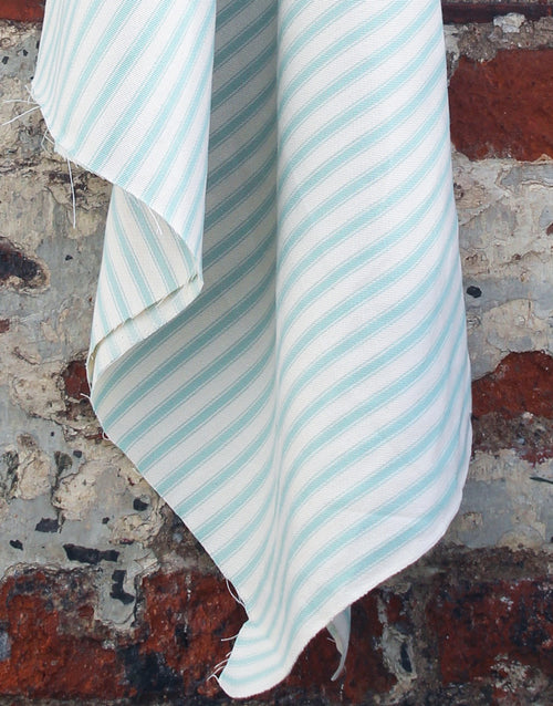 Cotton Ticking Stripe Fabric, Duck Egg