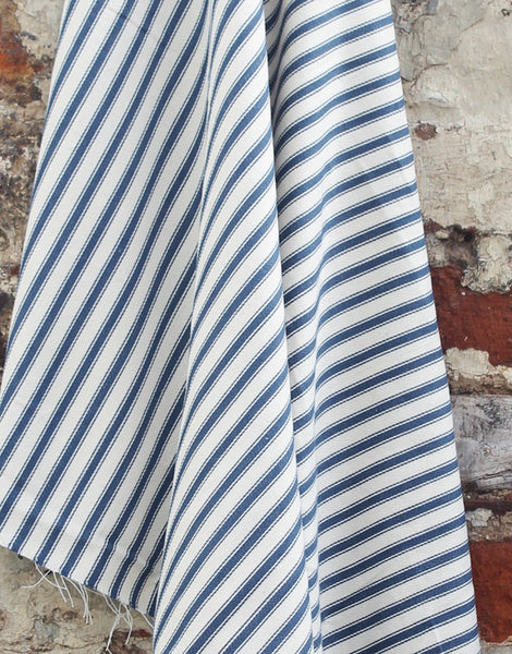 Cotton Ticking Stripe Fabric, Navy Blue
