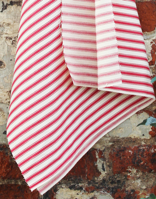 Cotton Ticking Stripe Fabric, Red