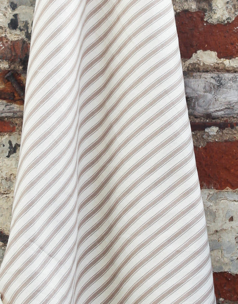 Cotton Ticking Stripe Fabric, Taupe