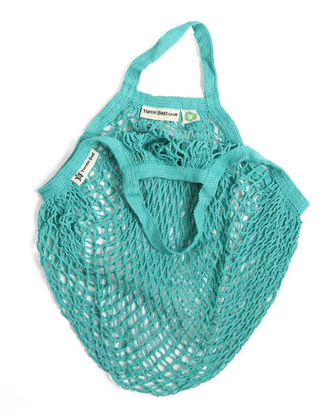 Organic Short Handled Eco String Bag, Aquamarine