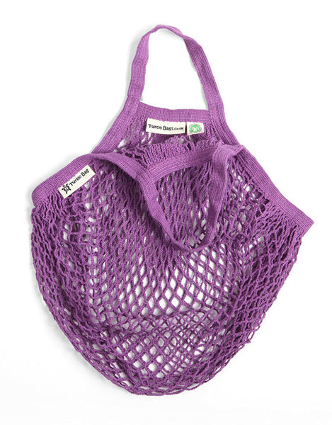 Organic Short Handled Eco String Bag, Purple