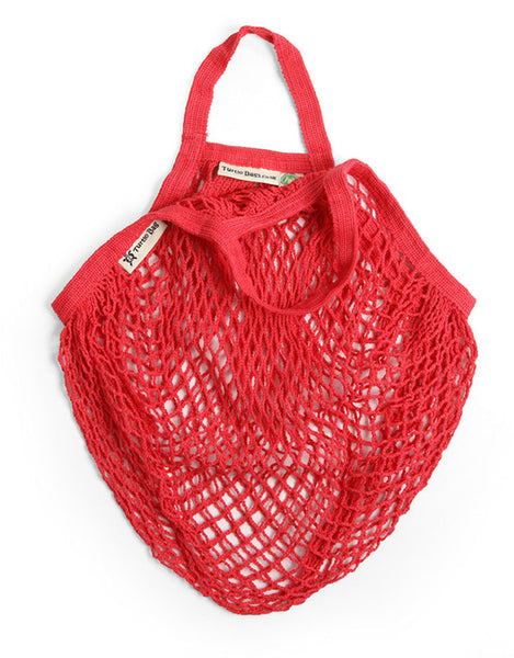 Organic Short Handled Eco String Bag, Red