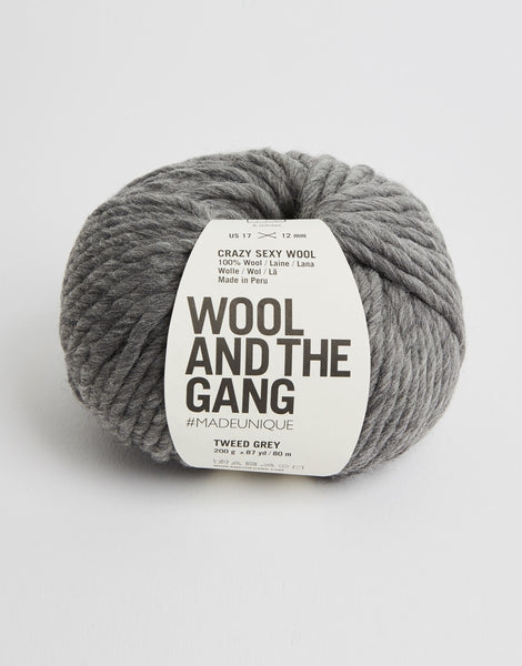 Crazy Sexy Wool Yarn, Wool and the Gang, Tweed Grey
