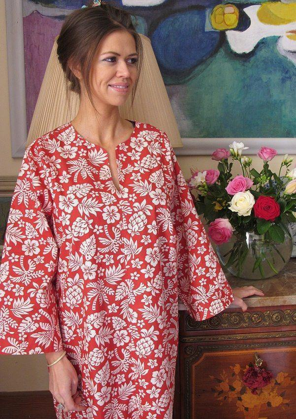 Red Darcy Cotton Kaftan