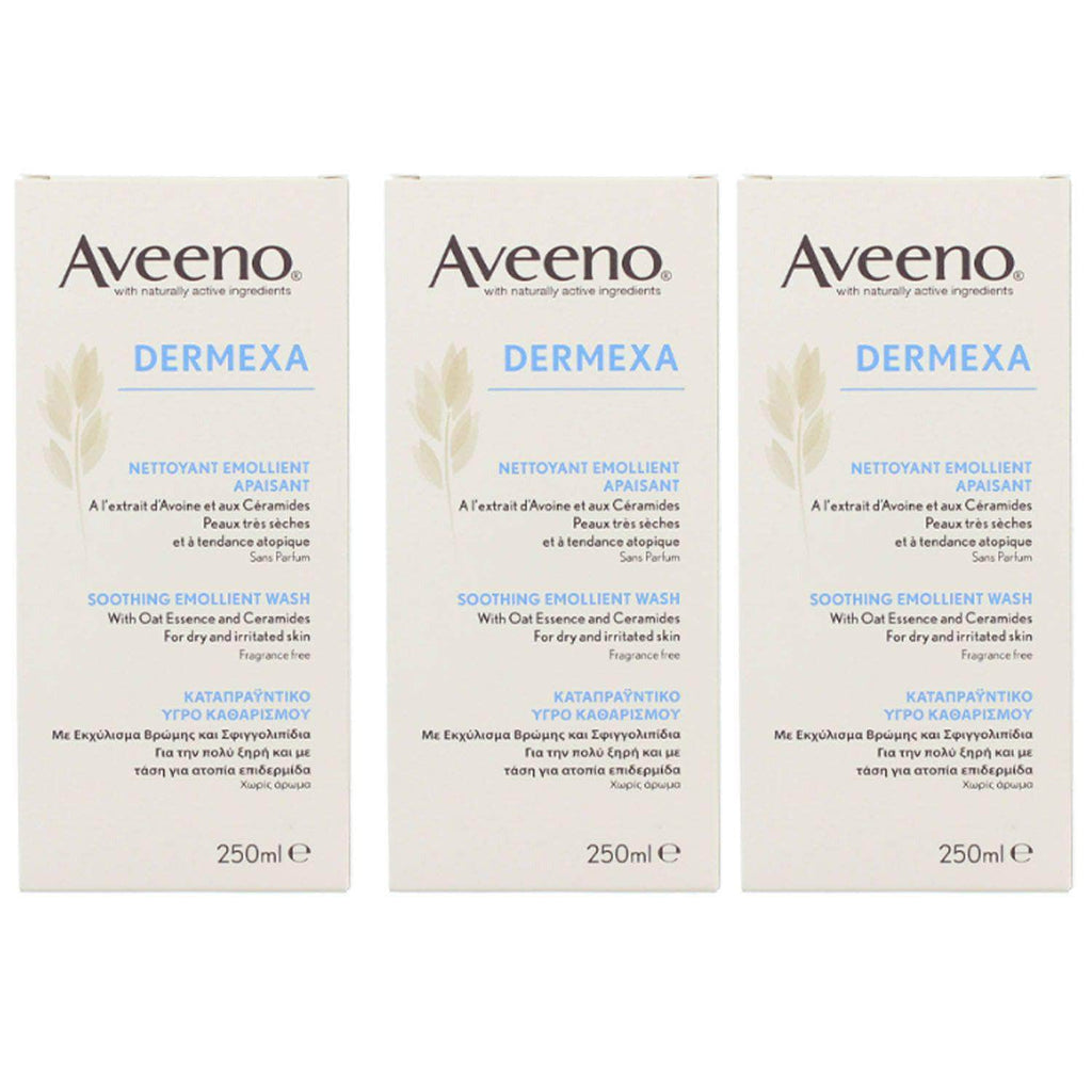 3 x Aveeno Dermexa Soothing Emollient Body Wash For Dry & Irritated Skin 250ml