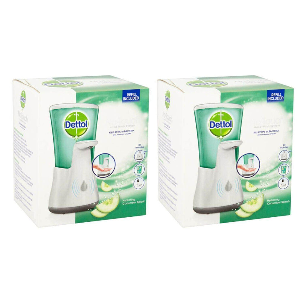 2 X Dettol No Touch Automatic Anti-Bacterial Soap Dispensers Cucumber Splash