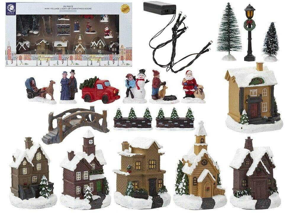 Christmas Mini Village Light-Up Scene 25 Pieces - Collectable Resin Figurines