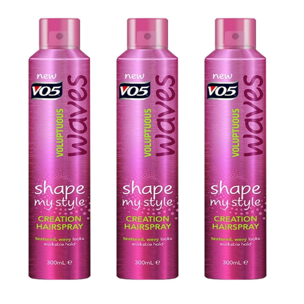 3 X VO5 Hairspray Voluptuous Waves 300ml - Textured Wavy Look, Workable Hold