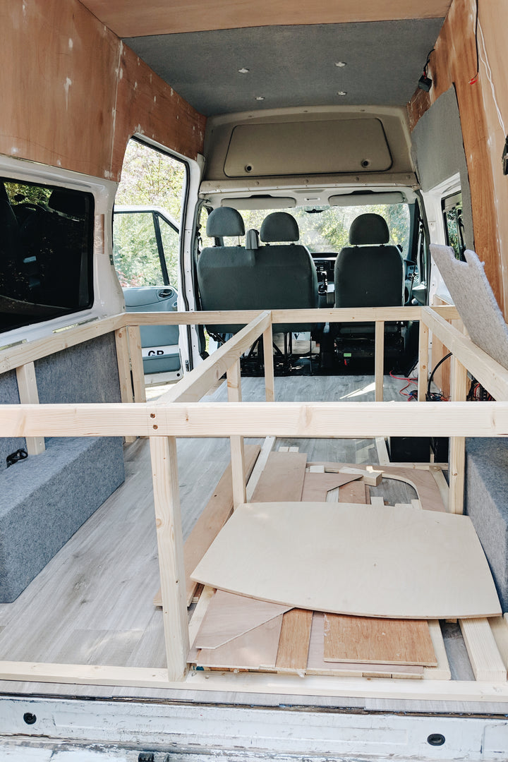 How to build a bed frame and cabinets in your camper van