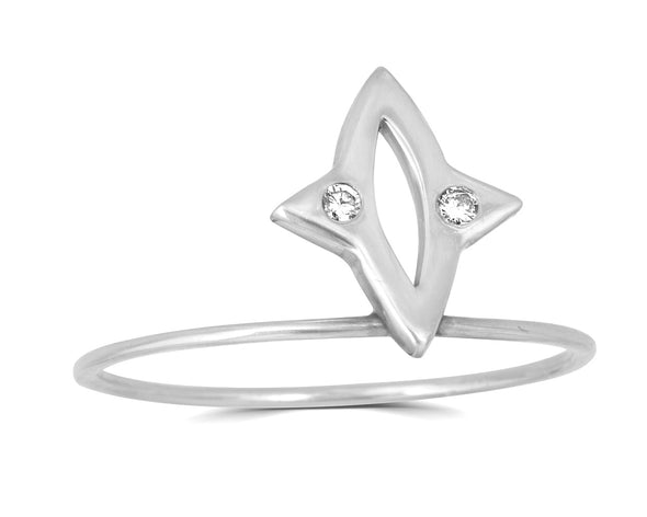 marquise star shaped ring with pave diamonds