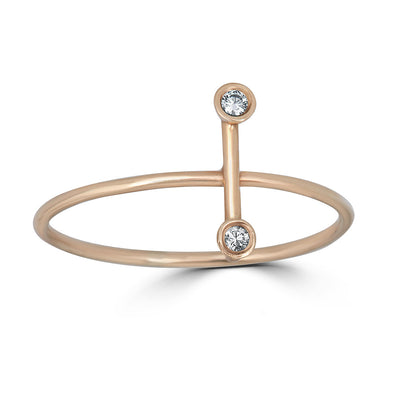 vertical line ring with diamond bezels