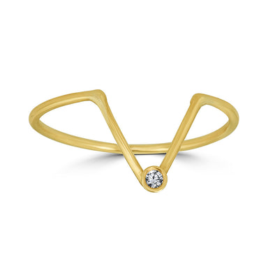 V shaped  diamond bezel ring yellow gold