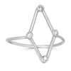 white gold and diamond minimalist kite shape ring