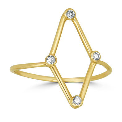 yellow gold and diamond minimalist kite shape ring