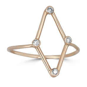 gold and diamond minimalist kite shape ring