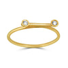 horizontal line and diamond bezels ring yellow gold