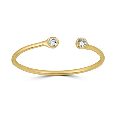 Double bezel open ring yellow gold
