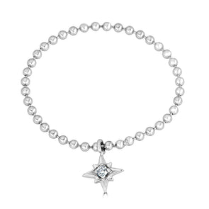 white gold chain and  star charm ring