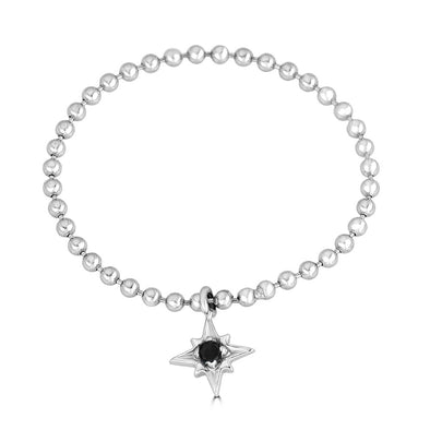 Baller Mini Star Charm Chain Ring- Black Diamond
