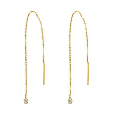 Le Basic Threader Bezel Drop Earring (single)