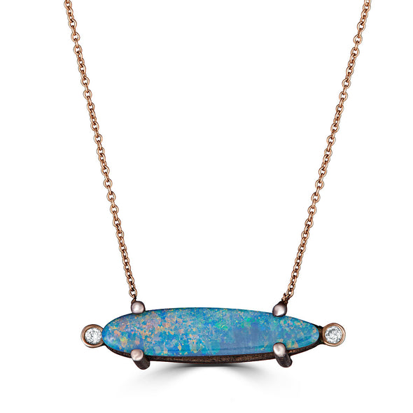 Bezel Drops Opal and Side Diamonds Necklace