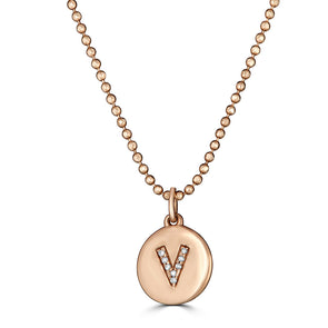 Pave Initial Disk Charm Necklace
