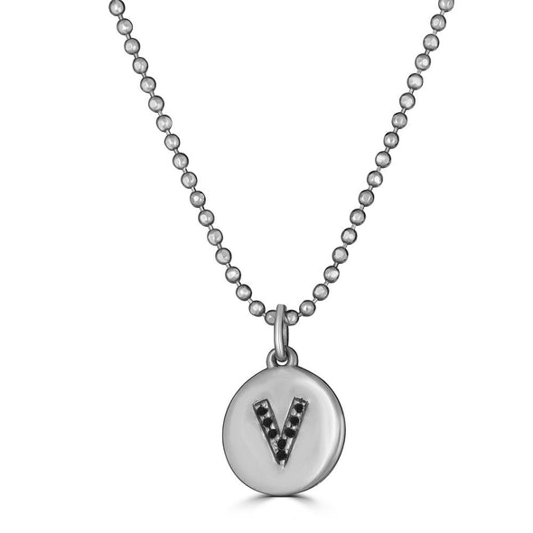 Pave Initial Disk Charm Necklace- Black diamonds