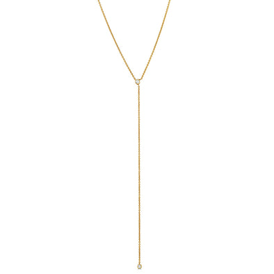 Le Basic Lariat Double Bezel Necklace
