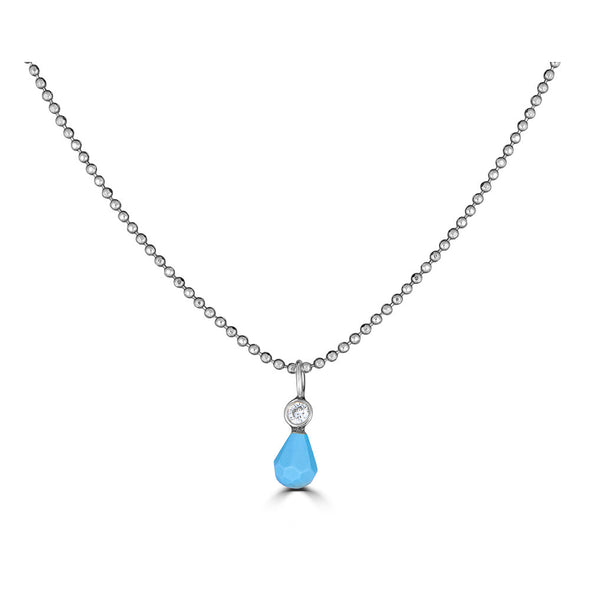 Genuine turquoise and Diamond dainty charm white gold necklace