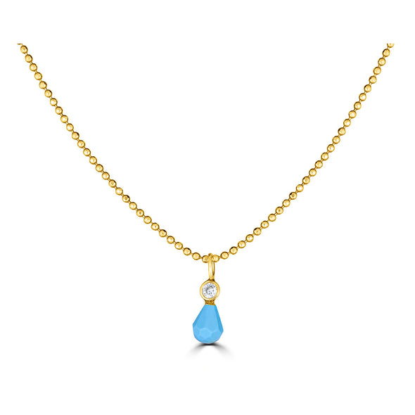 Genuine turquoise and Diamond dainty charm yellow 14k gold necklace