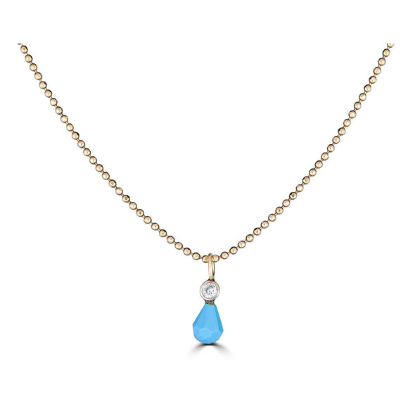 Genuine turquoise and Diamond dainty charm rose gold necklace